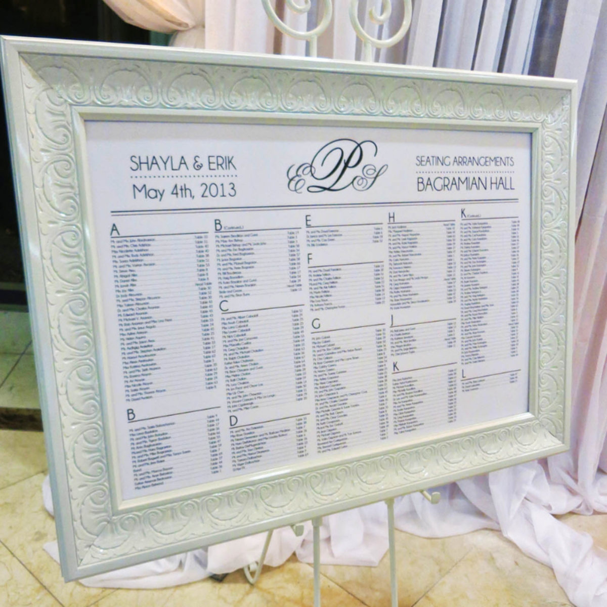 At many wedding receptions, mounted seating-lists are displayed to help guests find their assigned tables.