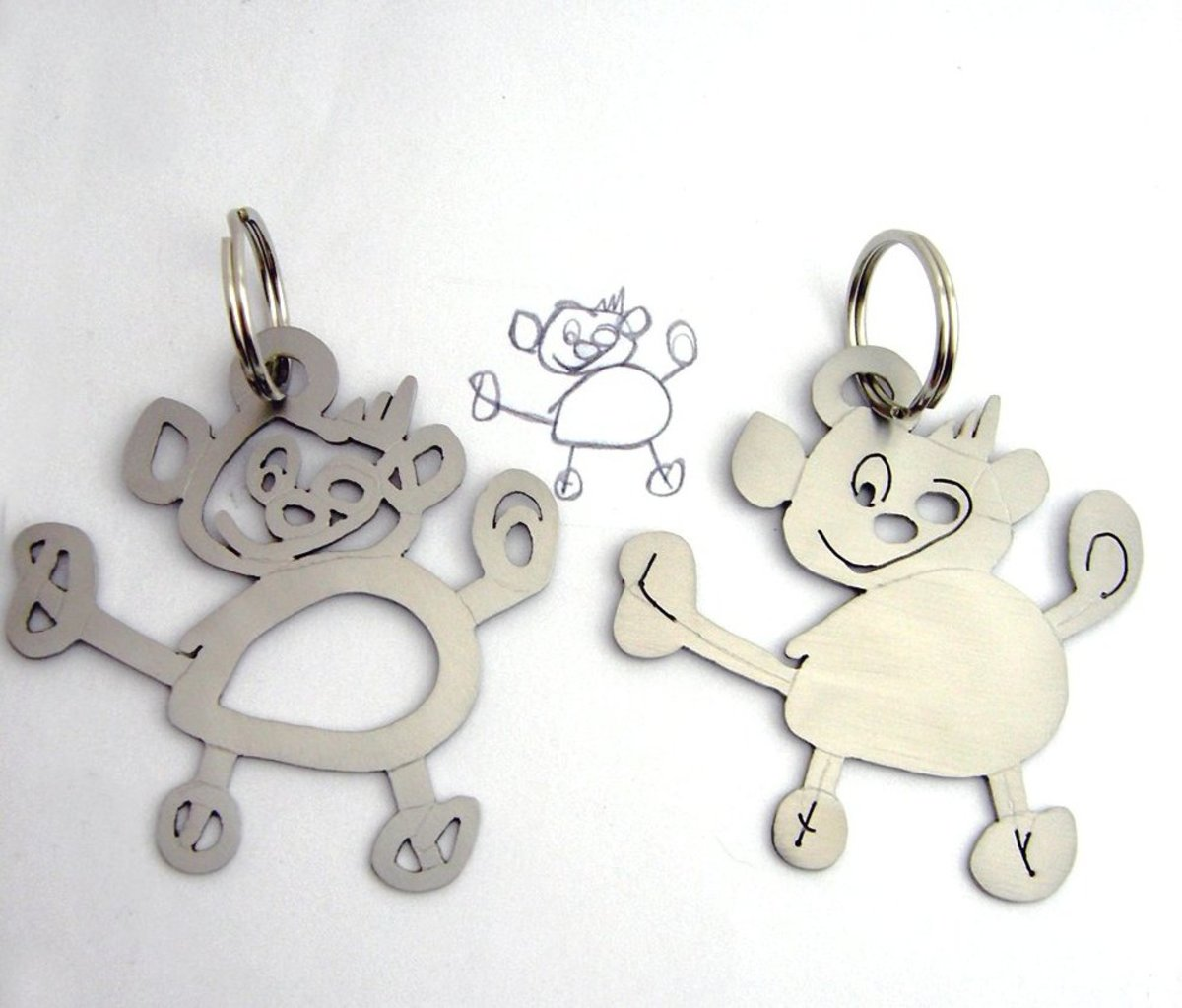 Moms can turn kid's doodles into keepsake key rings using polymer clay. Clever DIY gift for Father's Day.