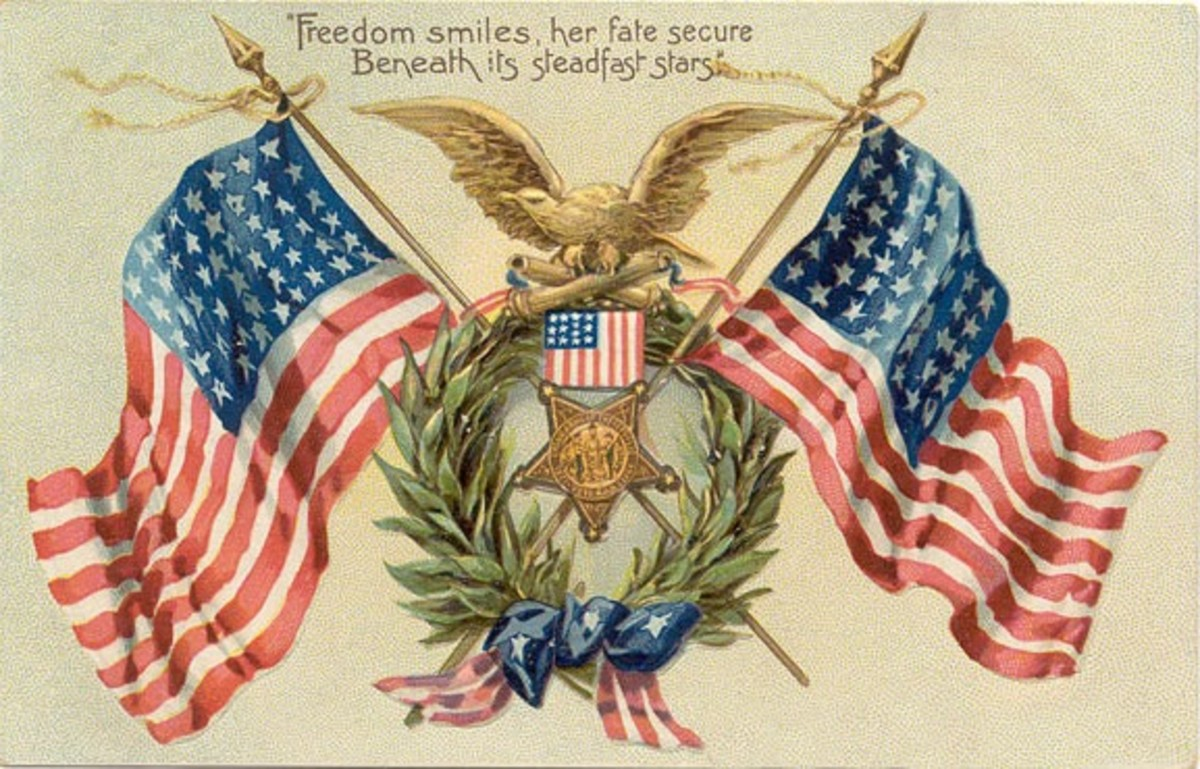 Old Postcard With American Flags