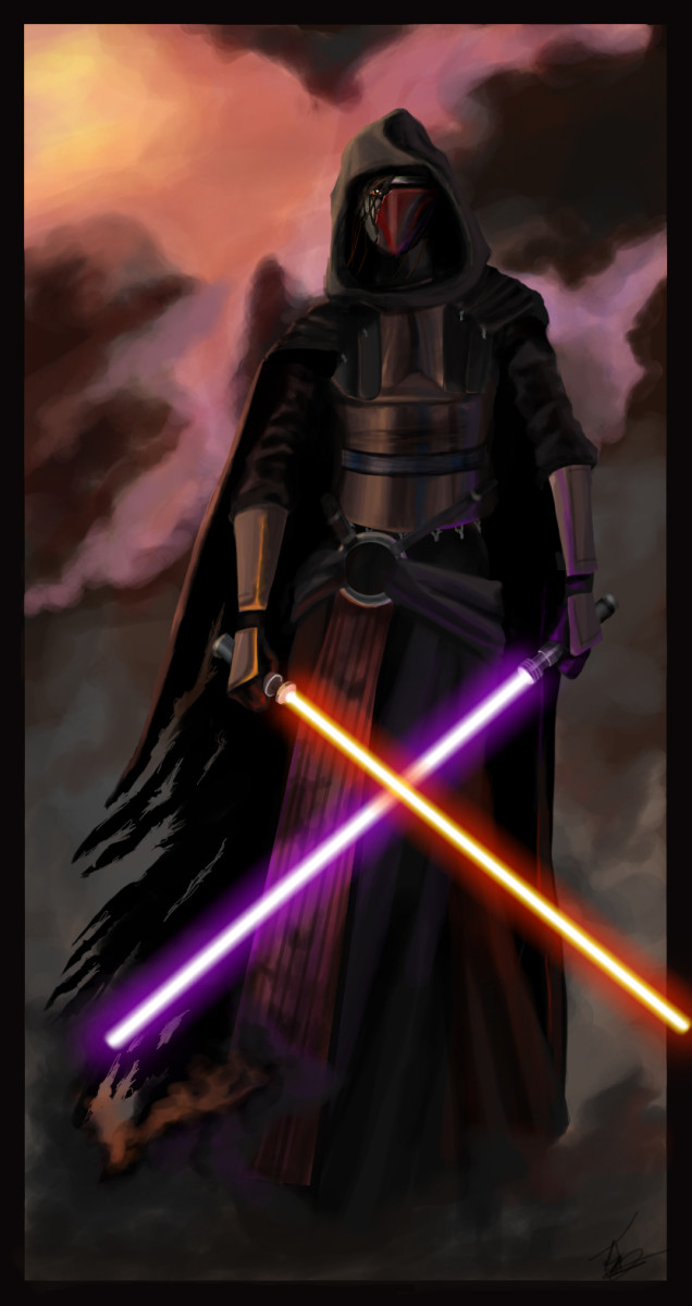 Darth Revan has a very different style from the Sith in the movies