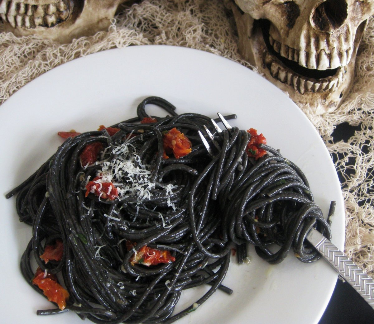 Squid ink pasta is actually considered a gourmet dish, but look at it, it is perfect for Halloween!