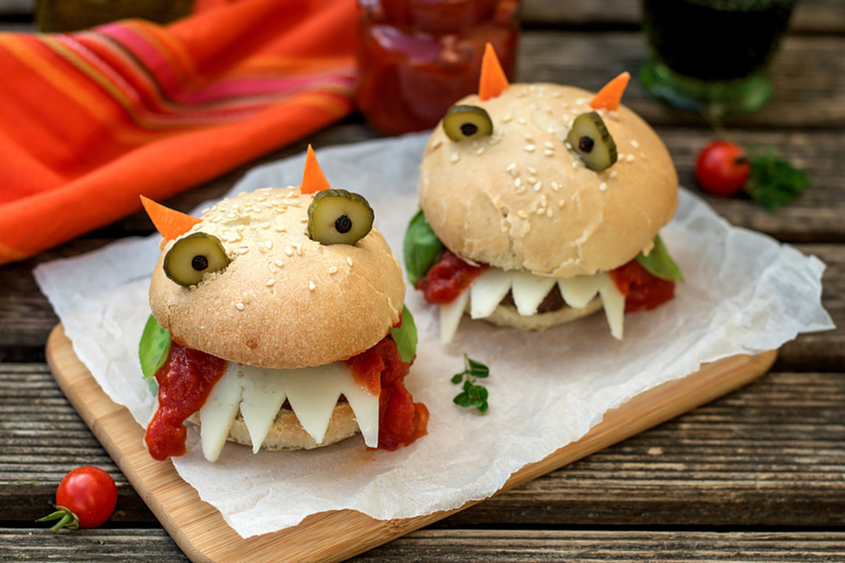 Easy monster burgers for your Halloween party.