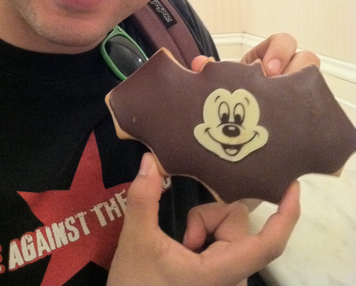 A big bat-Mickey cookie.