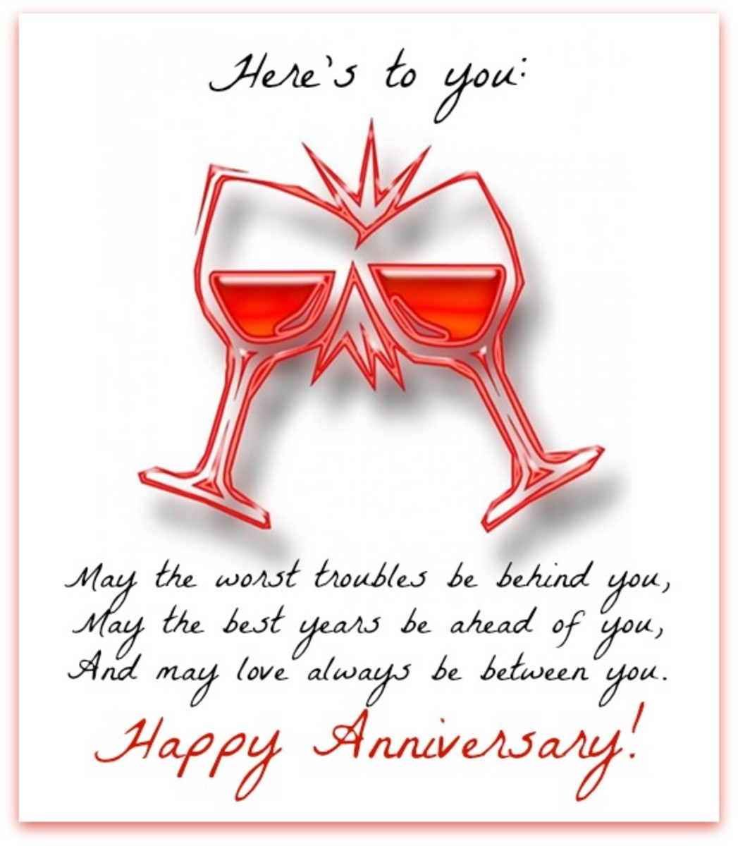 Anniversary Messages in Champagne Toast