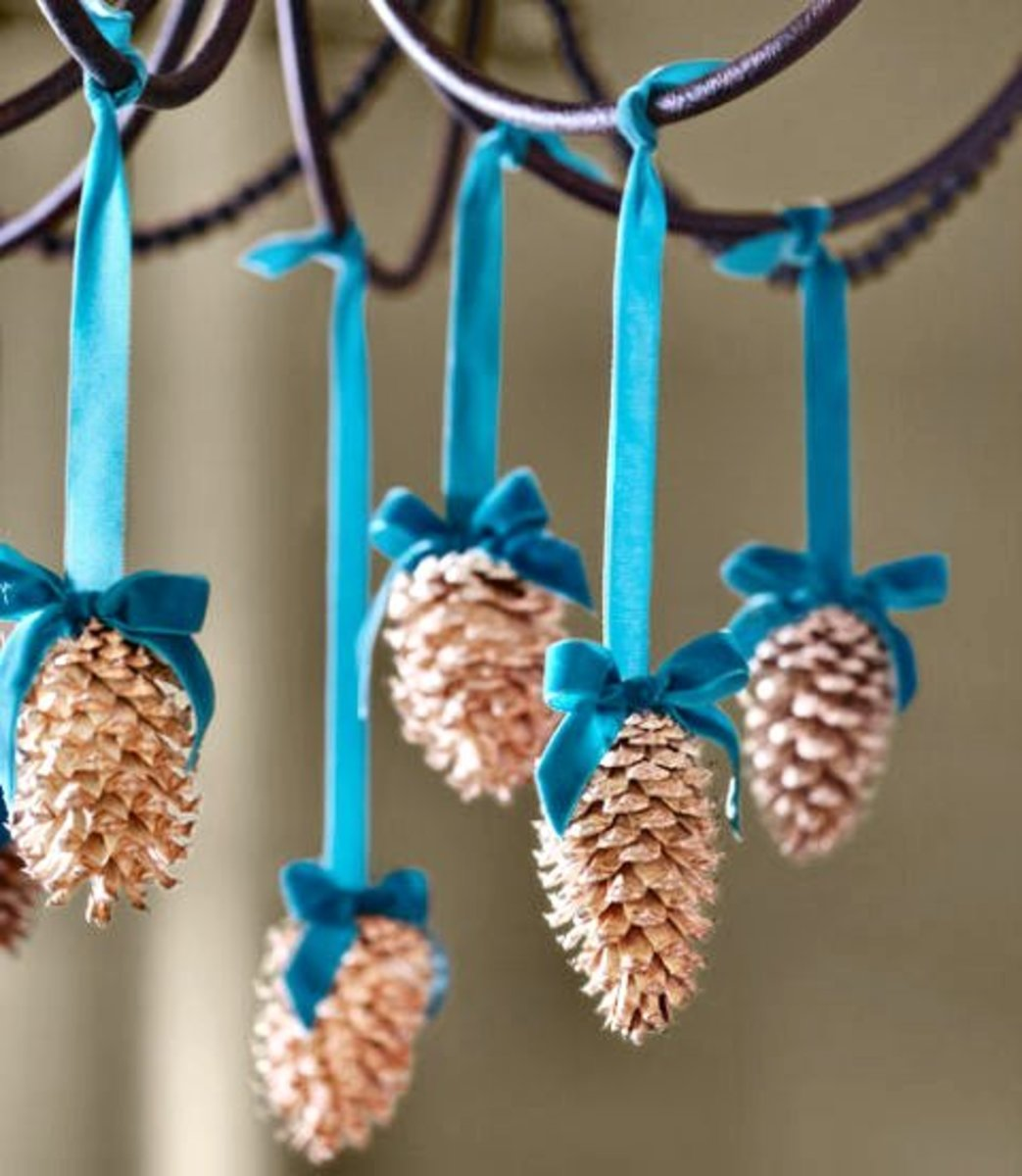 Bring a little nature indoors with these DIY bleached pine-cone ornaments.