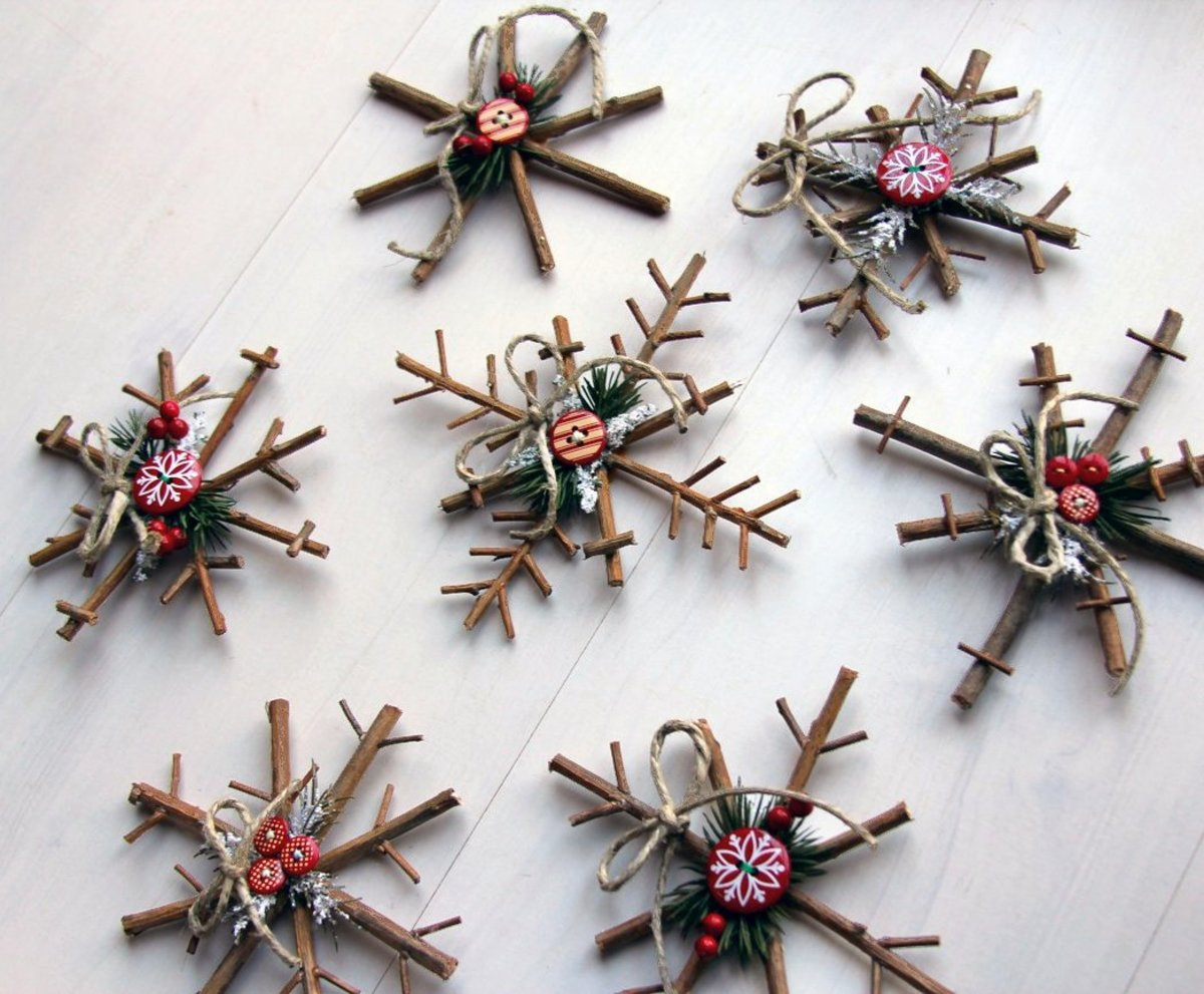 Add a rustic touch to your tree with a bunch of twiggy snowflake ornaments.