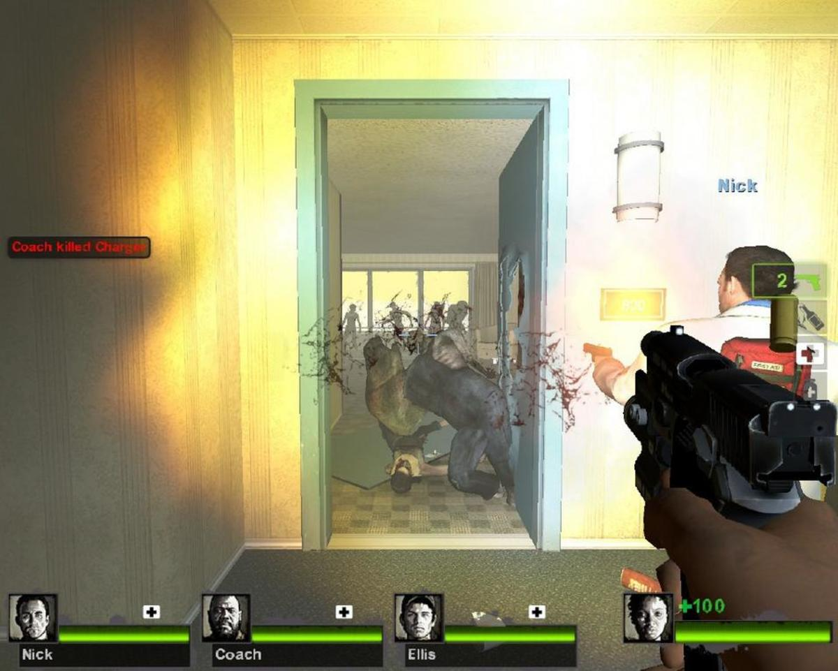 First-person shooters involve weapon accuracy and mobs of enemies.