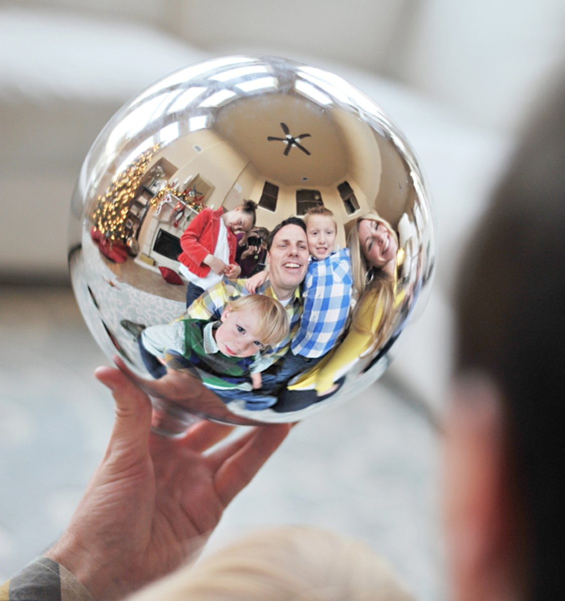 Your entire family captured in a Christmas ornament makes for an interesting Christmas card.