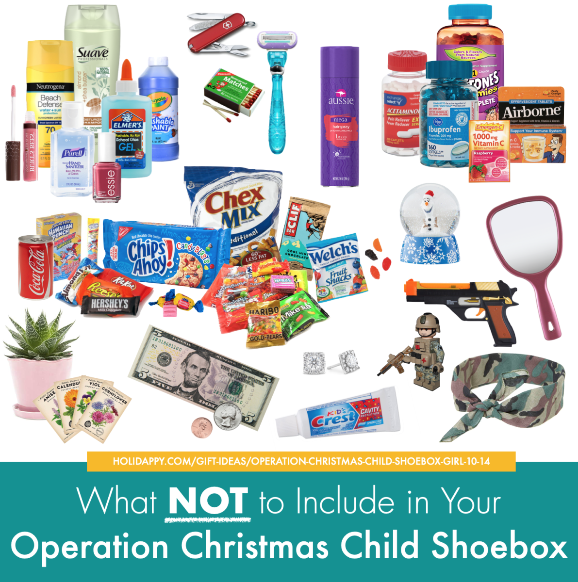 What NOT to include in an Operation Christmas Child Shoebox. From candy to toothpaste, customs regulations limit what you can send overseas.