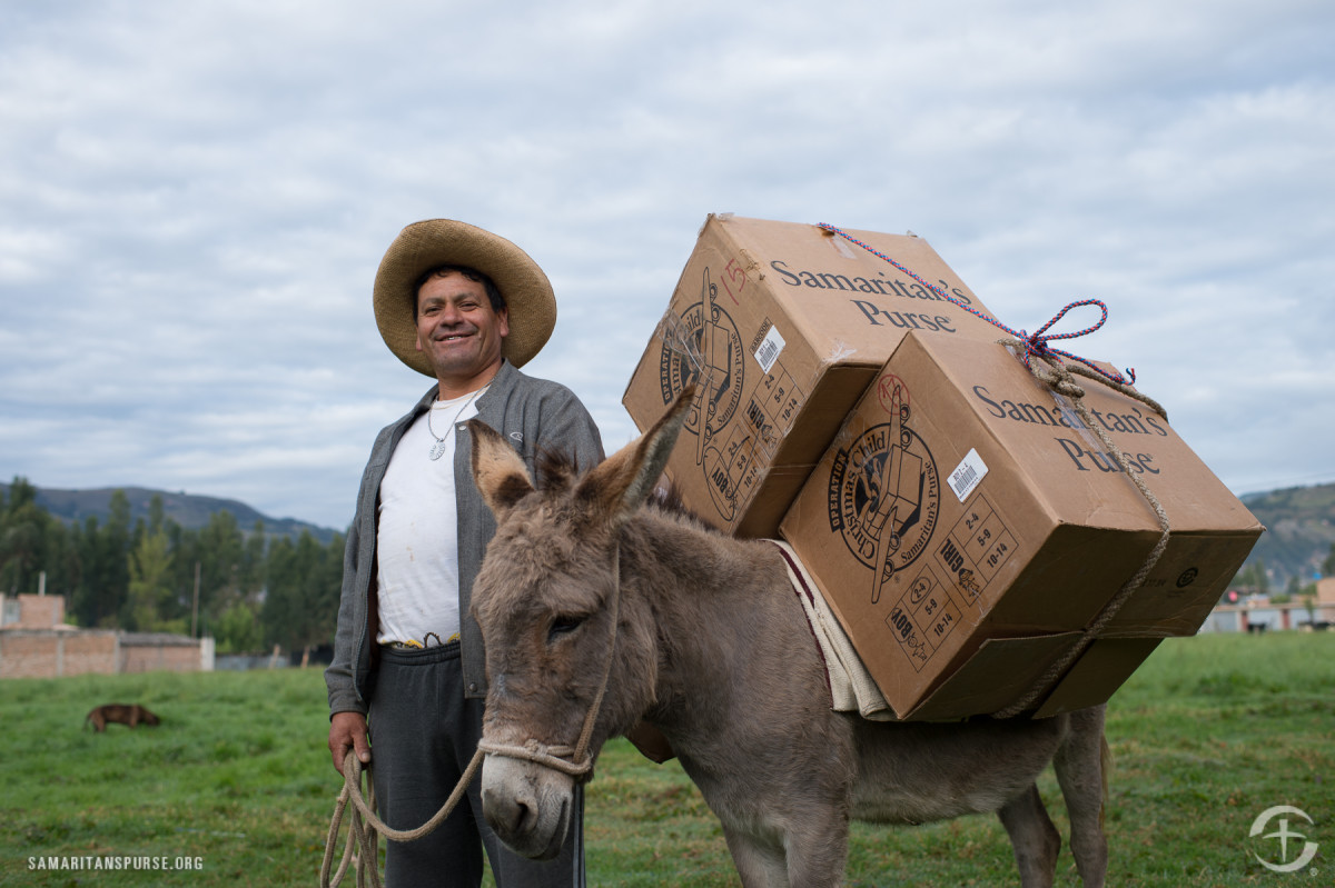 OCC shoeboxes delivered by donkey in Peru.