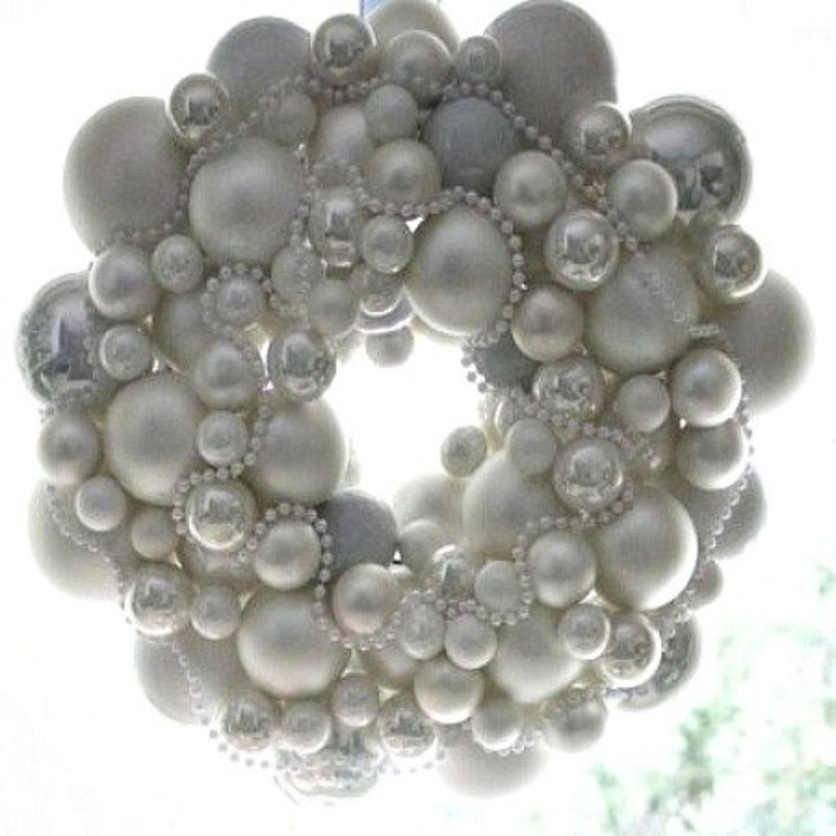 Image #2 - Pearl White Christmas Ornament Wreath