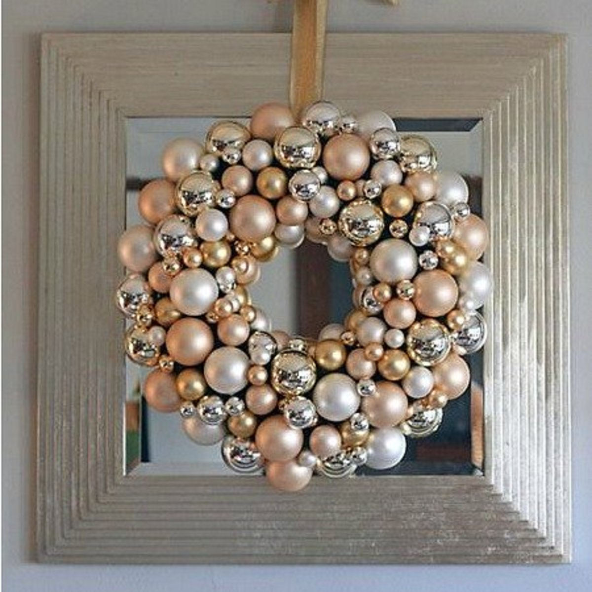 Image #3 - Champagne and White Christmas Ornament Wreath