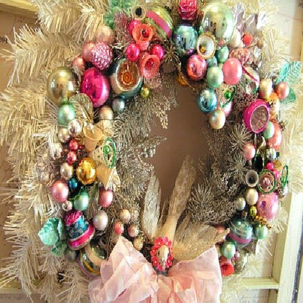Image #6 - Vintage Recycle Glass Christmas Ornament Wreath