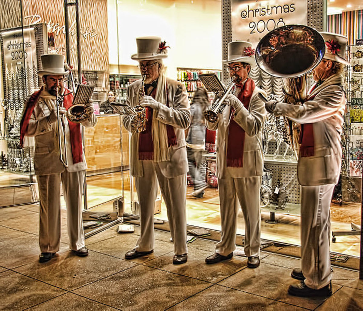 A band performs at the Americana in Glendale, California