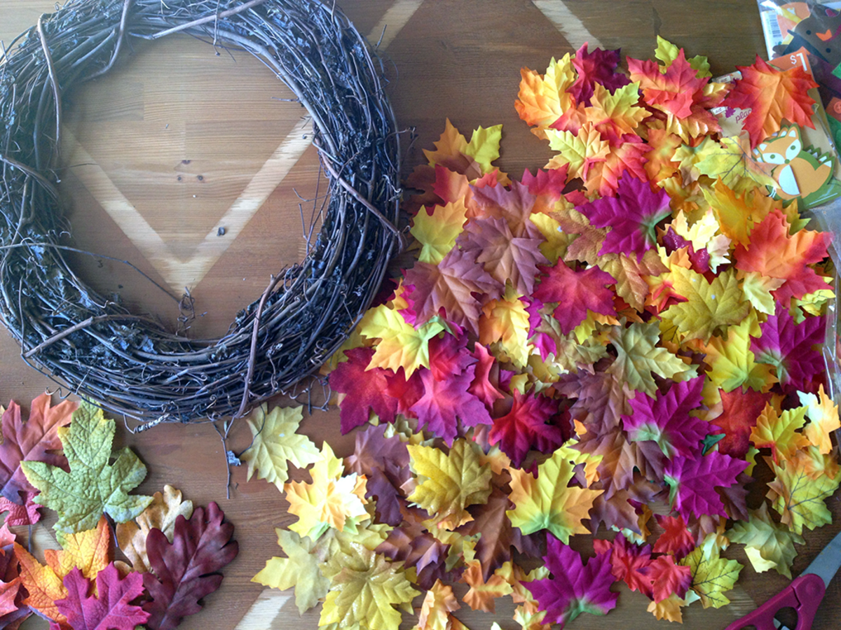 Thanksgiving and Fall crafting with fabric leaves.