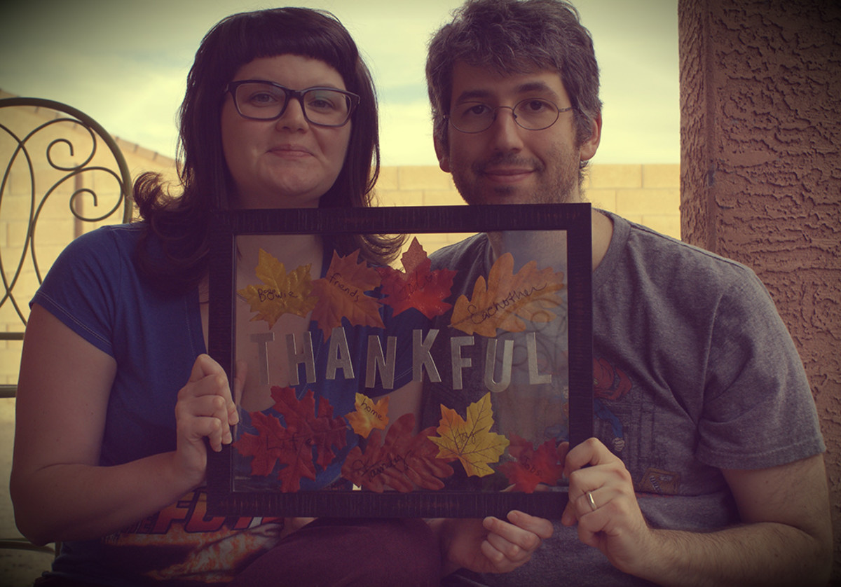 Thanksgiving crafts for couples: Here I am with my husband and our board.