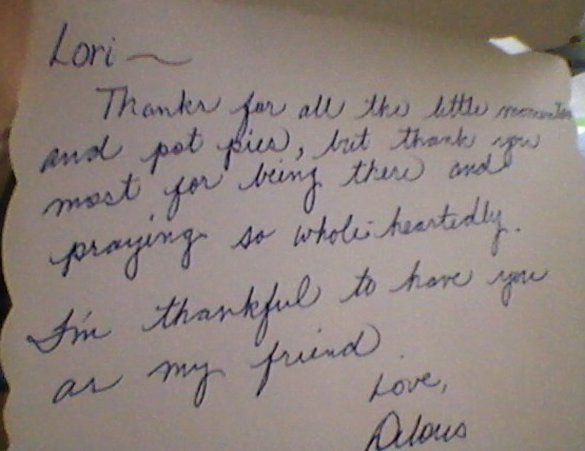 This is a thank-you note I received from a friend.