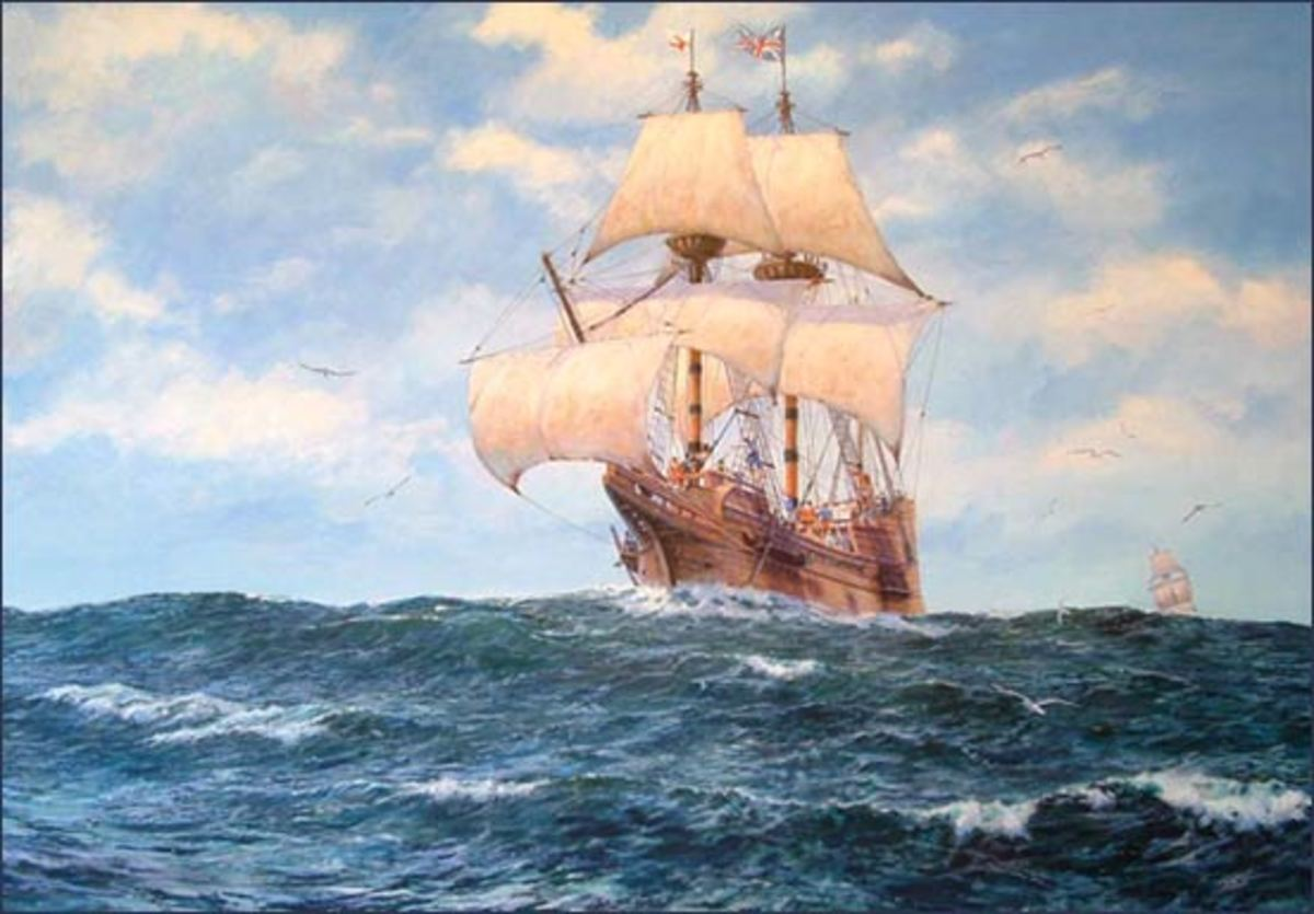 """Prosperous Wind"" by Michael Haywood--The Mayflower leaving Plymouth England"