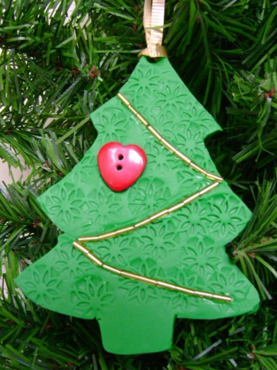 Christmas tree ornament made from oven bake clay