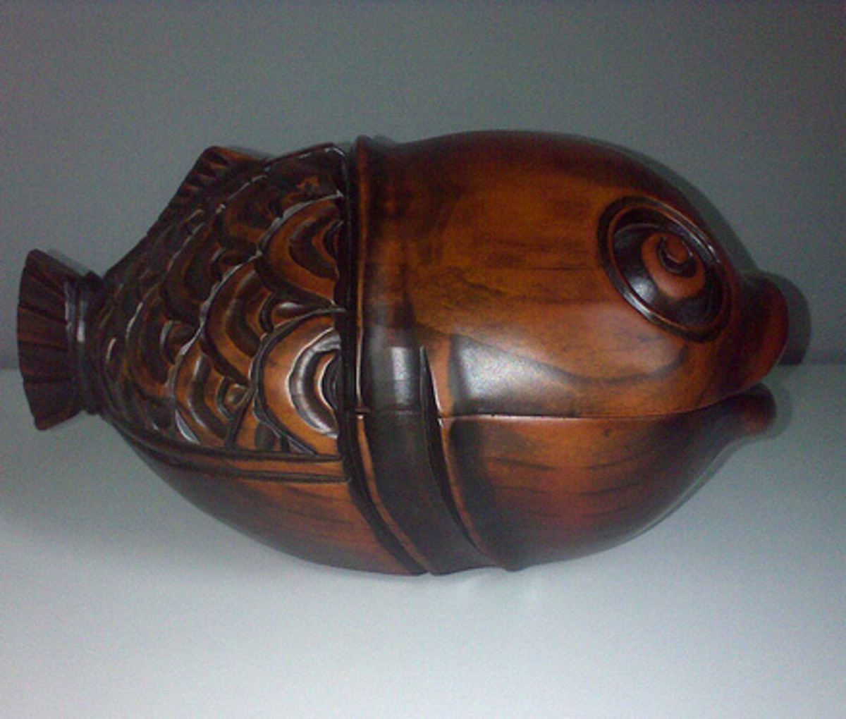 Wooden Box Carved in the shape of a fish