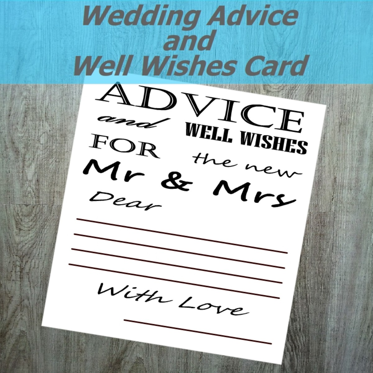 Wedding Advice and Well Wishes Card