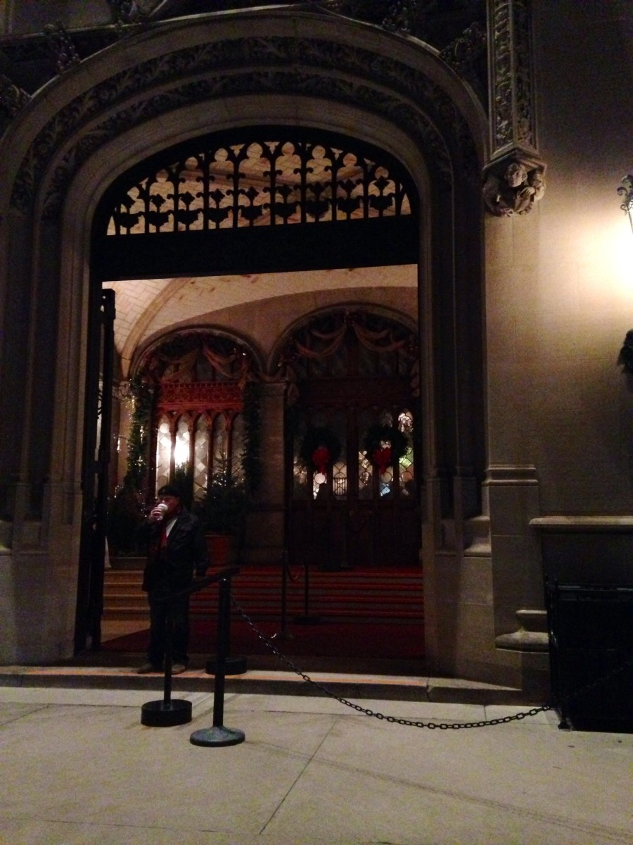 Front door of Biltmore House - Usually, guests would be lined up outside awaiting their tour time.  Because of the cold weather everyone was welcomed in right away.