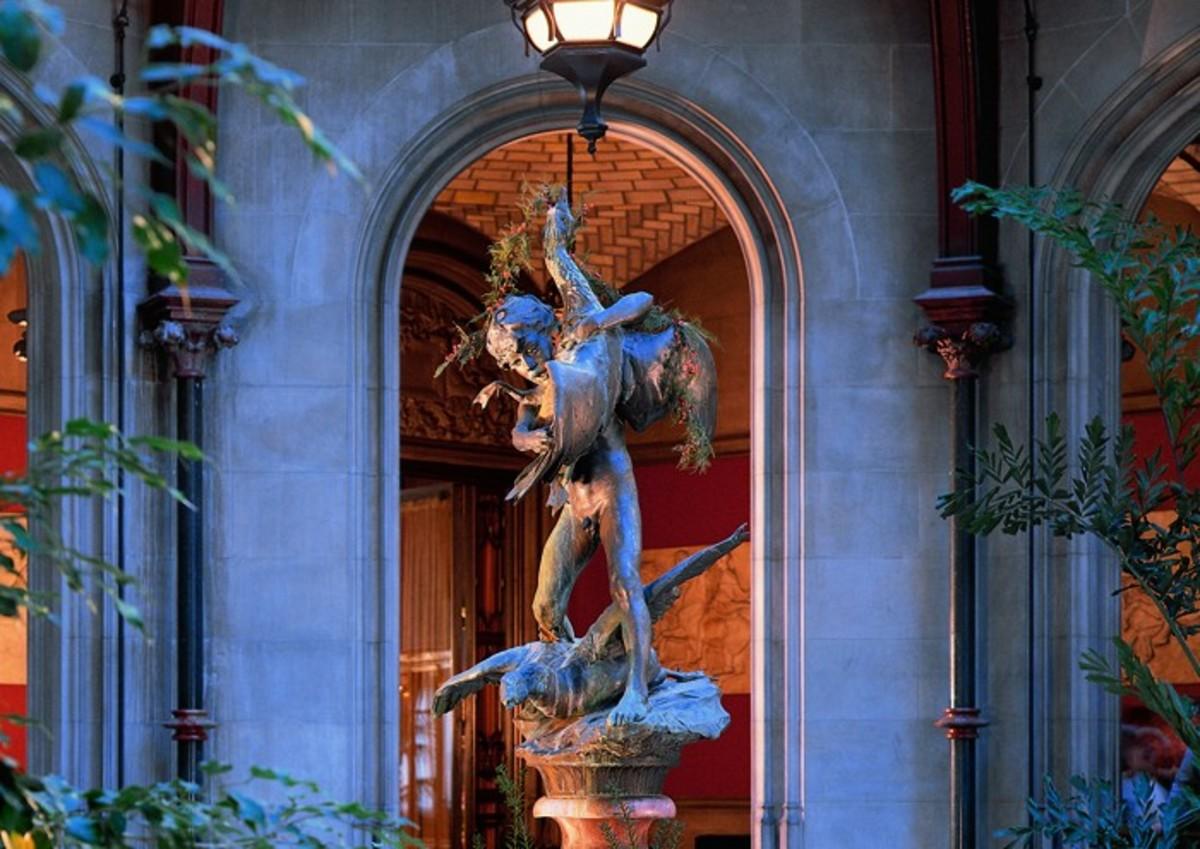 """Boy Stealing Geese"" statue in the Winter Garden"