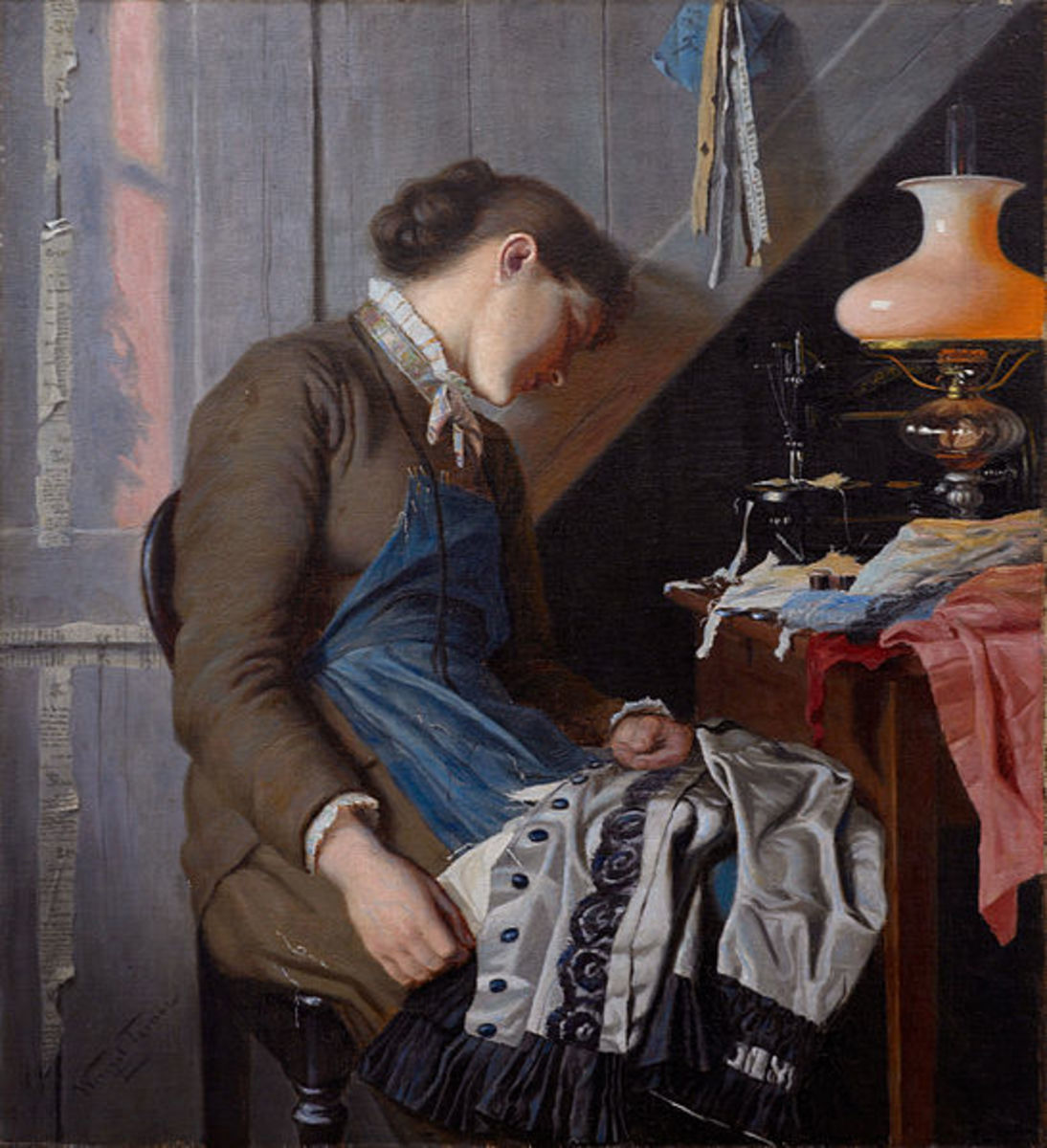 Wenzel Tornøe's  Seamstress. Whit Sunday morning.  Bares an eerie resemblance to a cosplayer's last minute preparations for con.