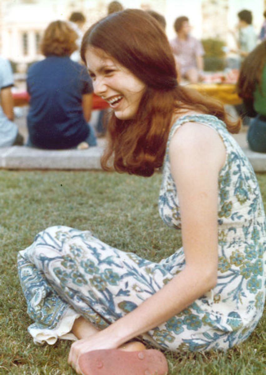 Girl in floral dress, c. 1973.