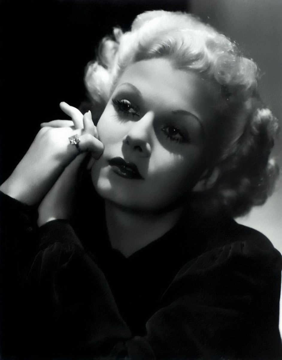 Jean Harlow, close up of face (public domain).