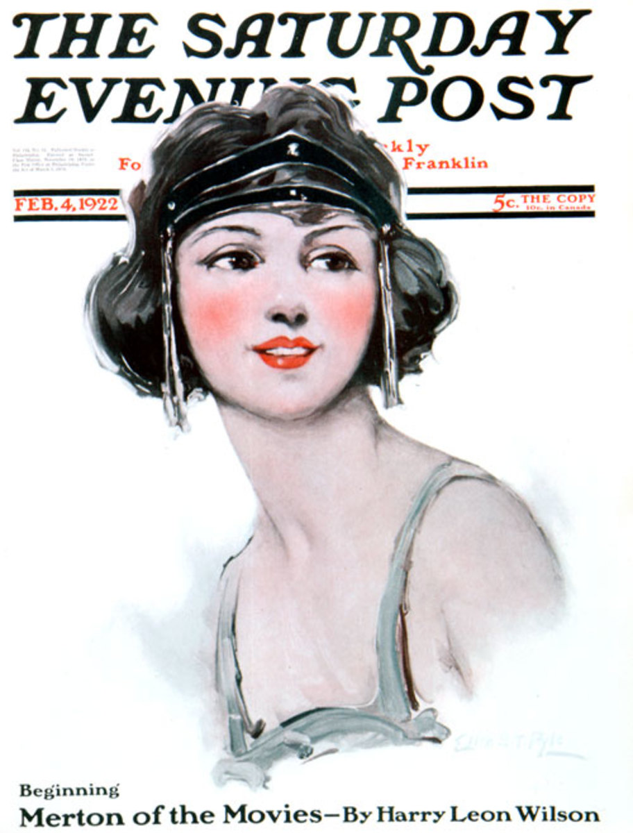 """Flapper,"" Saturday Evening Post cover 4 February 1922 by Ellen Bernard Thompson Pyle."