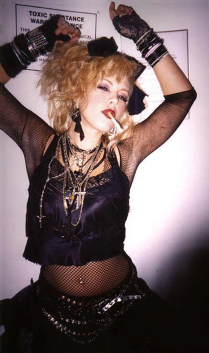 A contemporary model showing off Madonna's early fashion style from the mid-1980s.