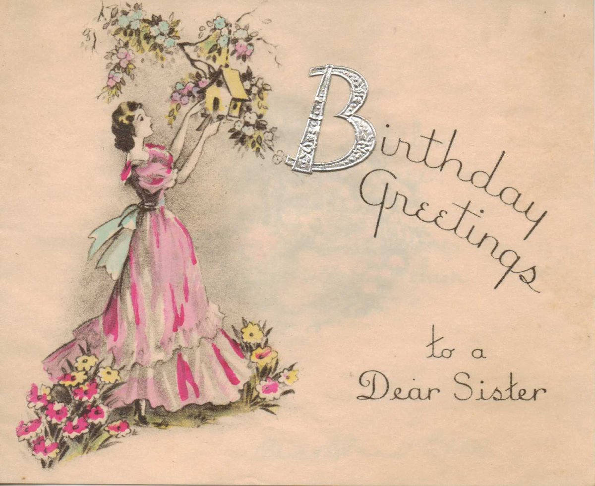 Vintage Birthday Wishes For Sister ~ S parchment paper birthday wishes image vintage card