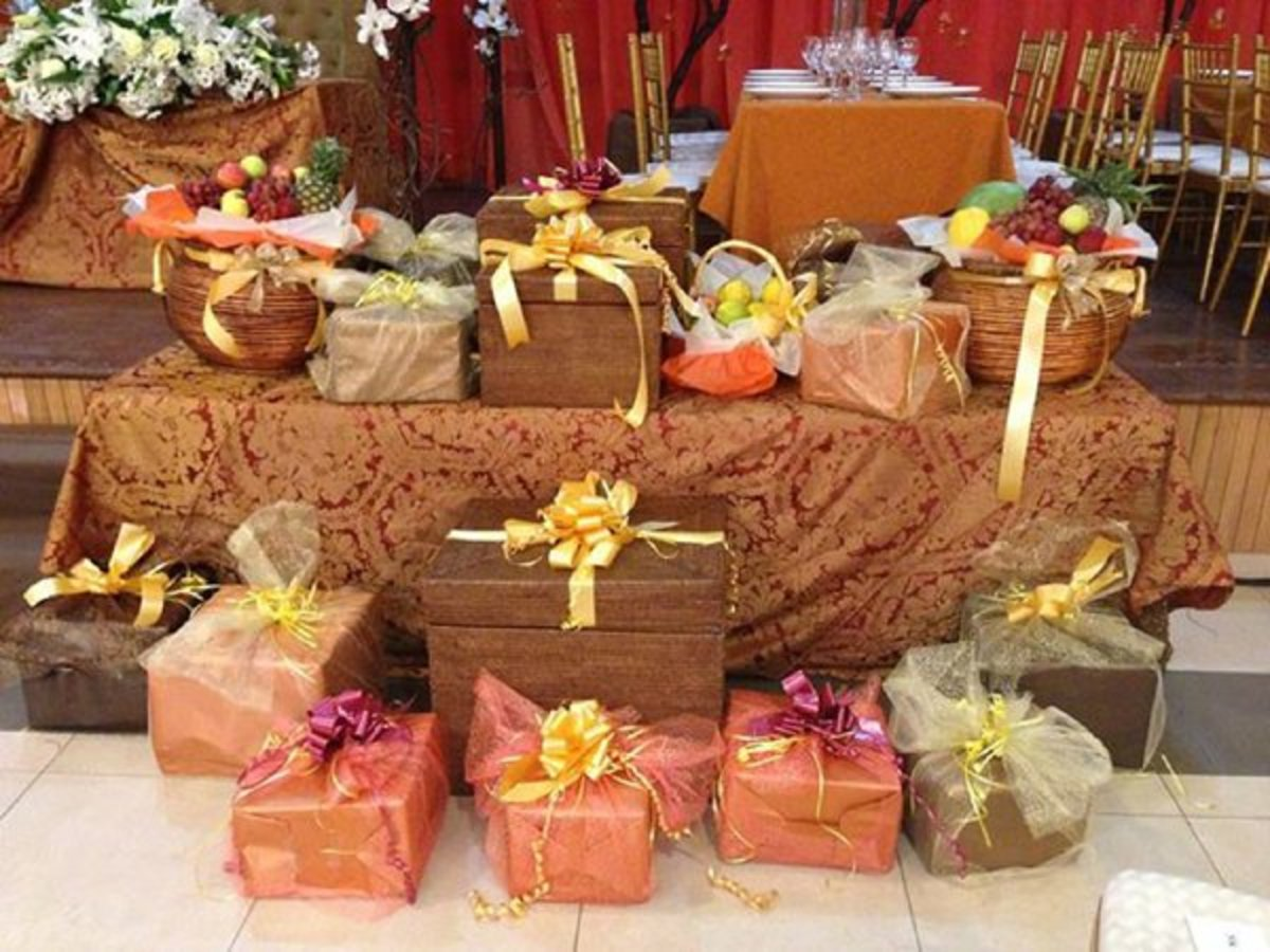 Gift items at the traditional wedding.