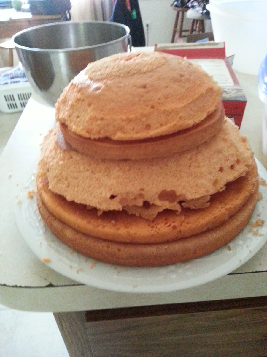 This is the start of the stacked layers I used to build the cake.