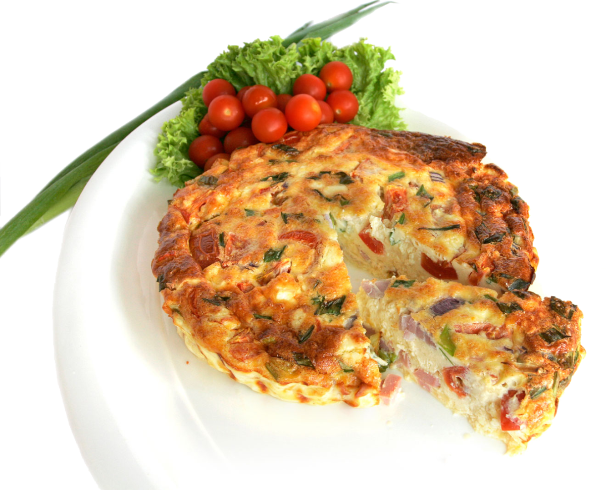 A plate of beautiful egg frittata.