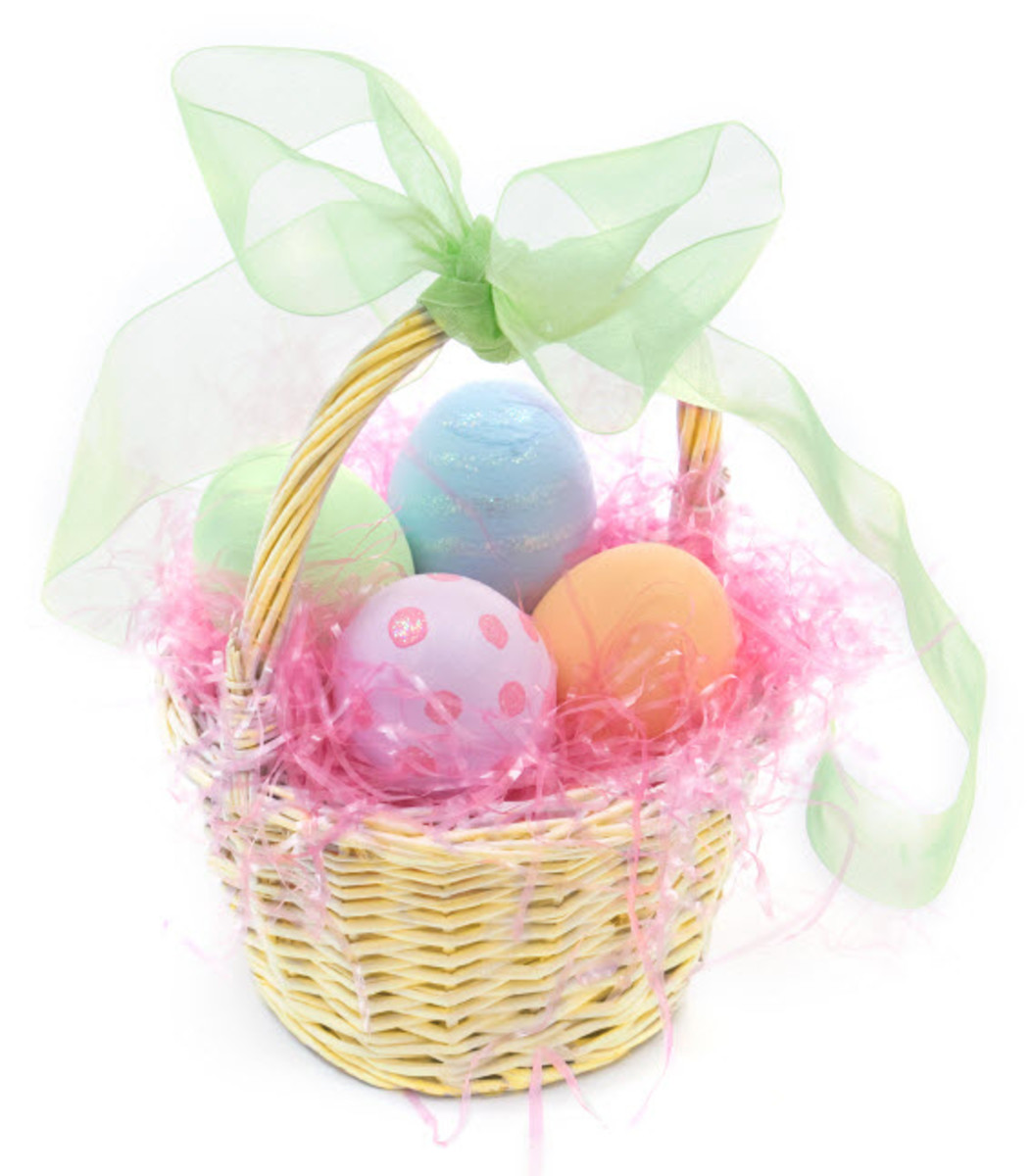 An Easter basket filled with painted eggs.