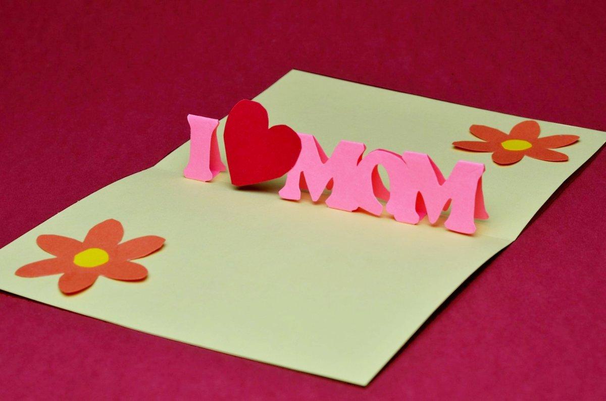 """I love Mom"" pop-up card"