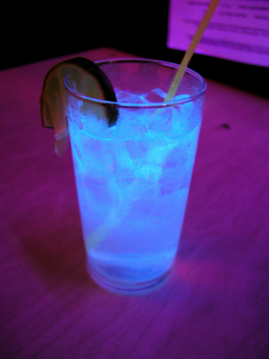 Tonic water glows under black lights!