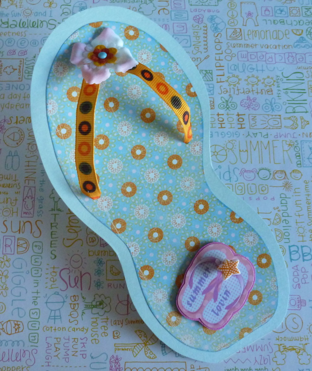 Summer Flip Flop Shaped Card Tutorial and Free Template