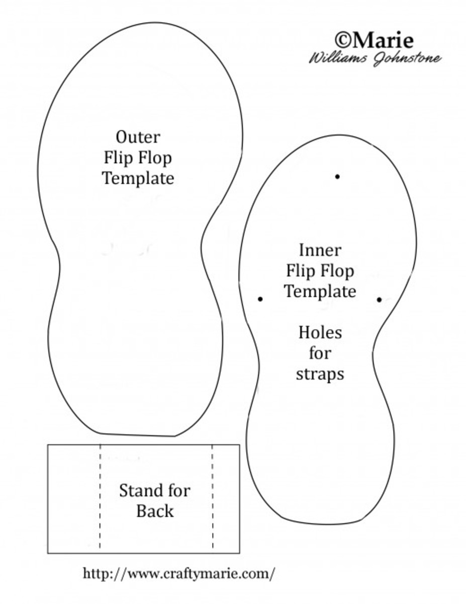 Shaped summer flip flop template to make cards and handmade crafts