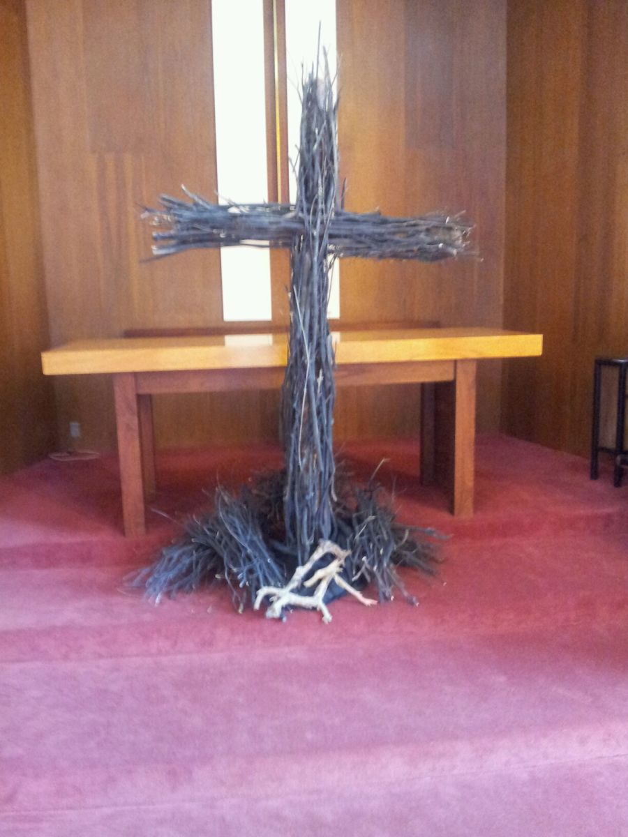Here is our cross covered in black sticks.