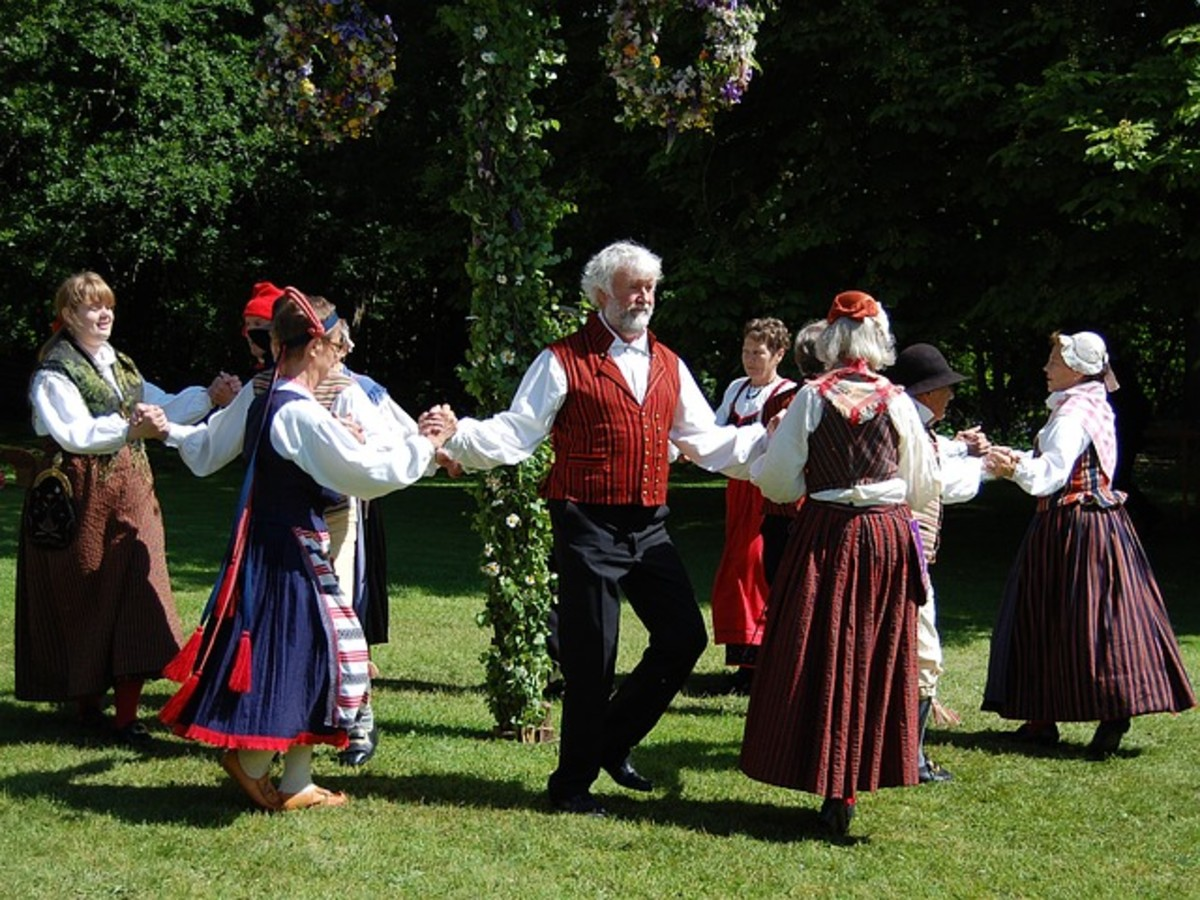 Midsummer folk dancers in traditional costumes.