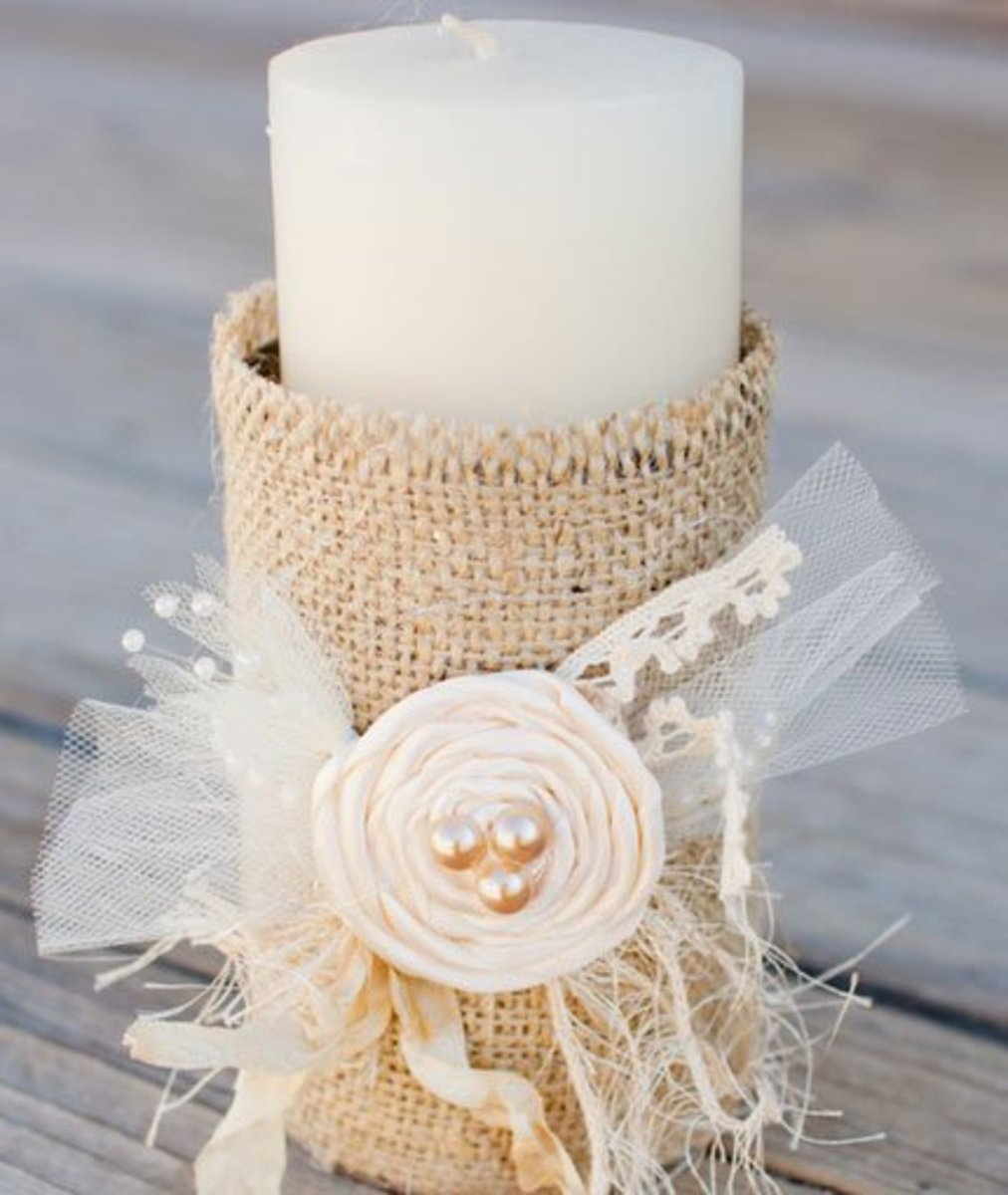 DIY Wedding Table Decoration Ideas   Burlap Candle Holders   Click Pic for 20 Easy DIY Wedding Decorations