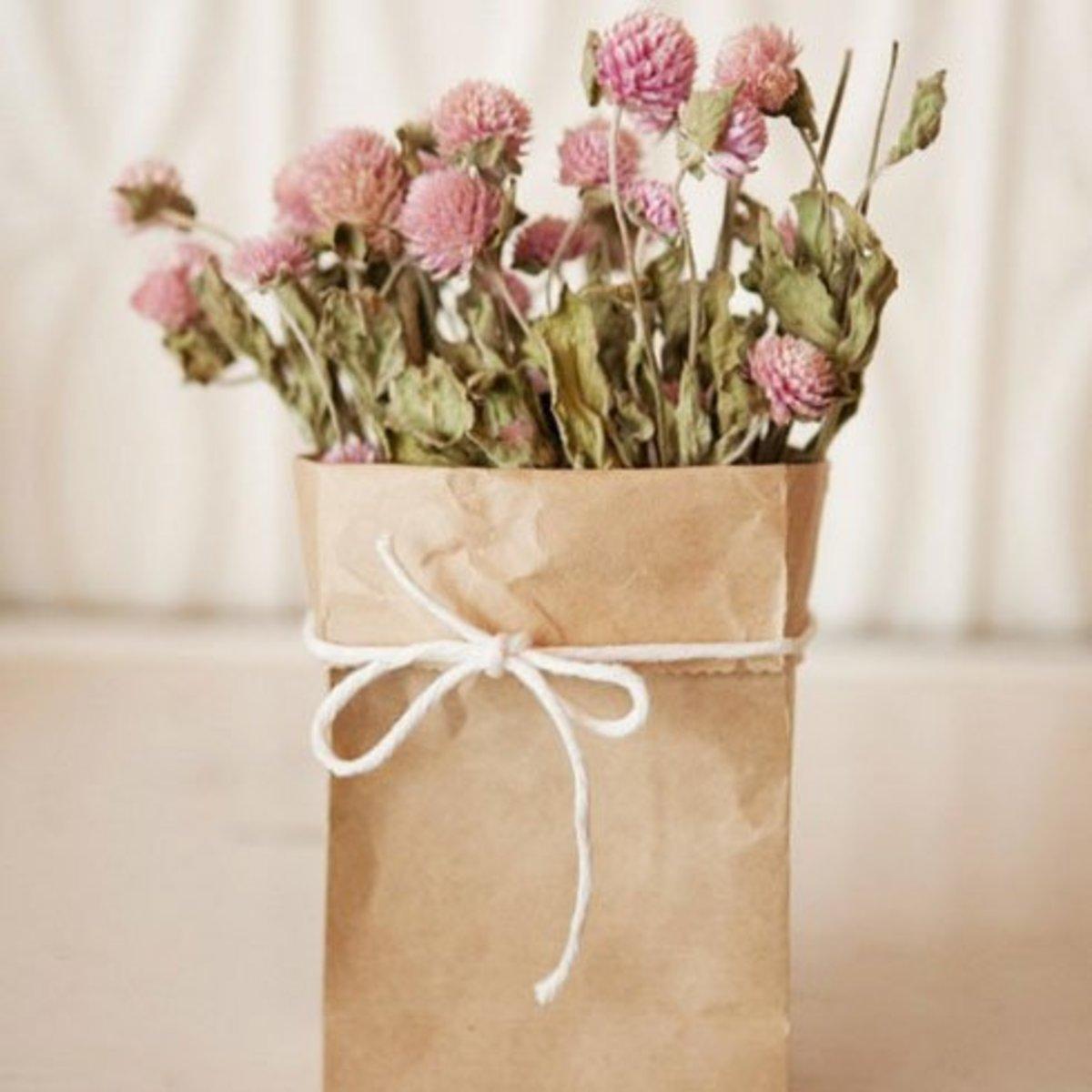DIY Wedding Table Decoration Ideas   Paper Bag Vase   Click Pic for 20 Easy DIY Wedding Decorations