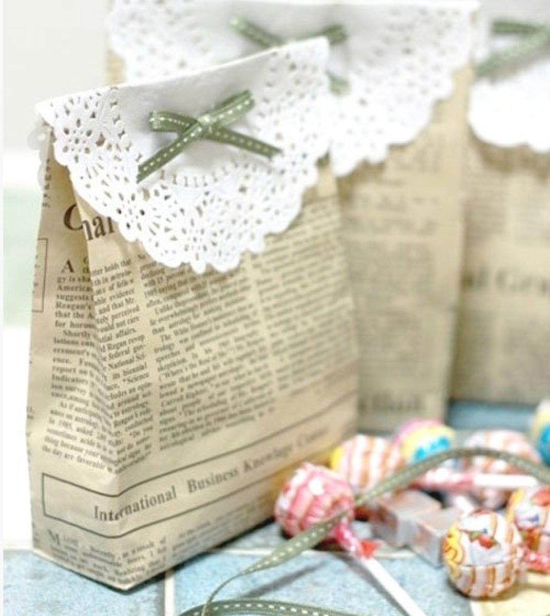 DIY Wedding Table Decoration Ideas   Newspaper Favor Bag   Click Pic for 20 Easy DIY Wedding Decorations