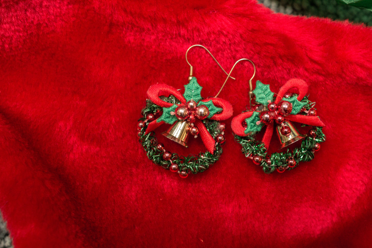 Christmas wreath earrings jewelry