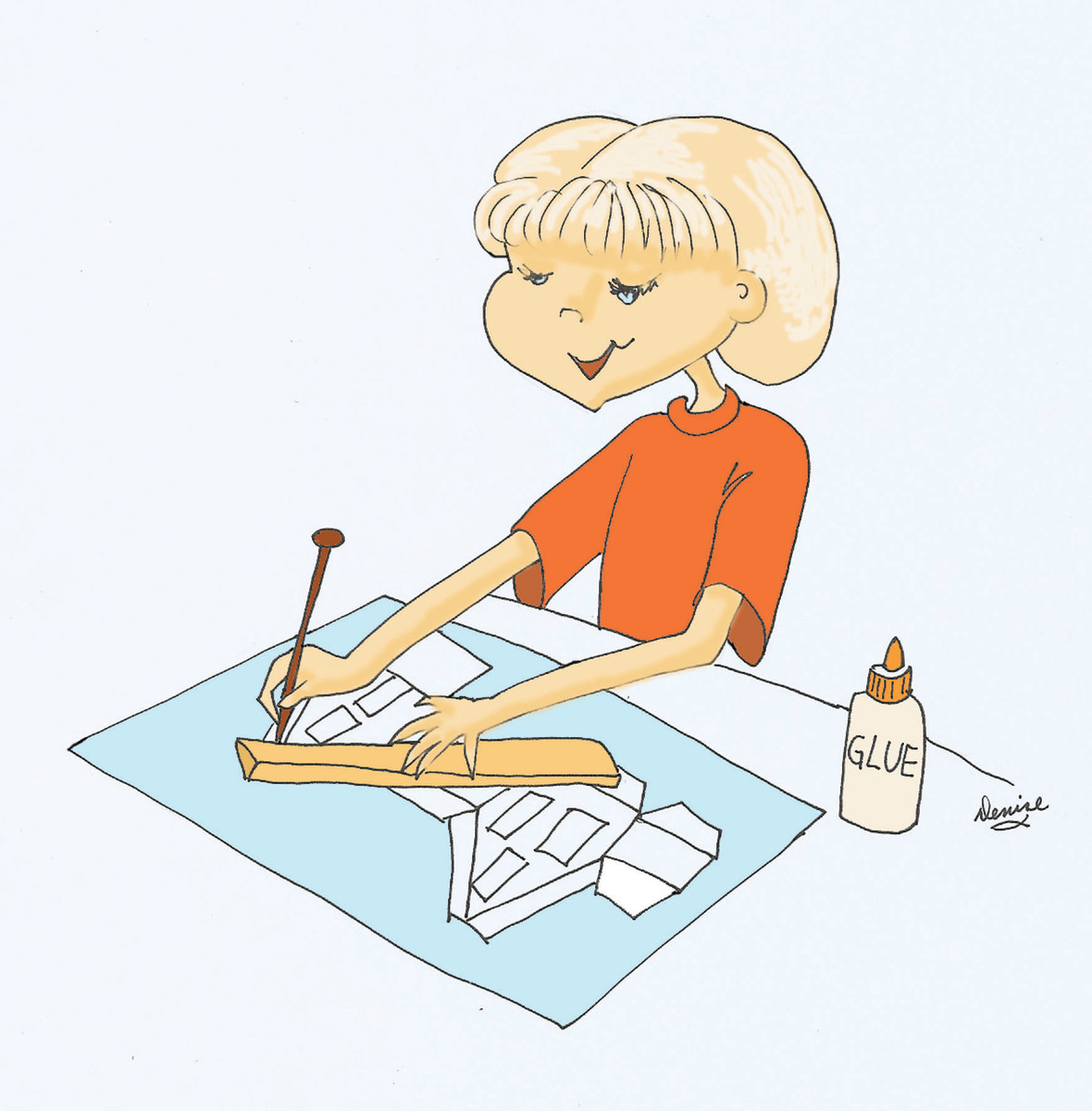 My drawing of a girl scoring the fold lines.