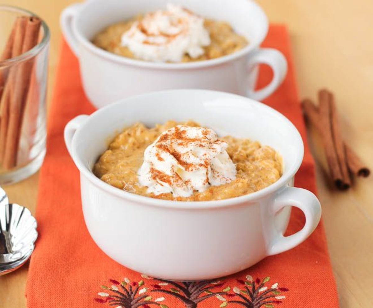 Flavorful pumpkin rice pudding.