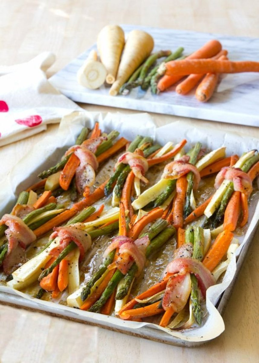 Bacon-wrapped roasted vegetables are an easy and delicious side for your Thanksgiving meal.